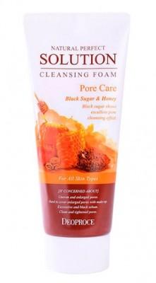Пенка для умывания с темным сахаром и медом DEOPROCE Natural perfect solution cleansing foam pore care 170г: фото