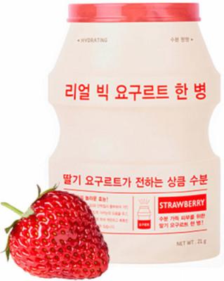 Тканевая маска йогуртовая с клубникой A'PIEU Real Big Yogurt One Bottle StrawBerry: фото