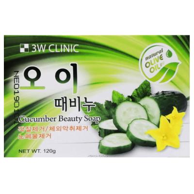 Мыло кусковое с экстрактом огурца 3W CLINIC Cucumber beauty soap 120р: фото