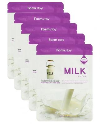 Набор тканевых масок для лица с молочными протеинами FARMSTAY MILK VISIBLE DIFFERENCE MASK SHEET 23мл*5шт: фото