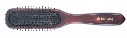 Щетка массажная, 7-рядная с металлическими штифтами Hairway Choco: фото