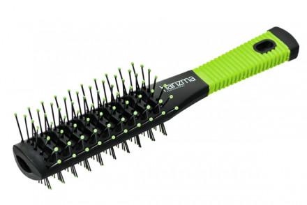 Щётка для волос туннельная двухсторонняя Harizma Professional черно-зеленая: фото
